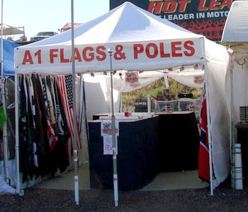 Ground Flagpole Mount, Flagpole, Flags Vending at Sturgis Buffalo Chip, Flag in Action