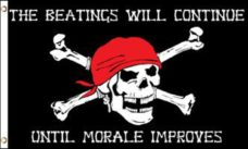Pirate Morale Flag, Pirate Flags, Morale Flag, Beatings will Continue Flag