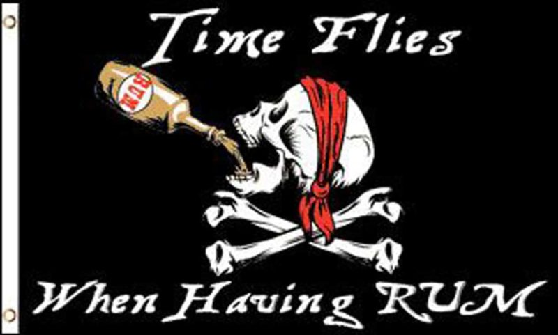 Pirate Time Flies When Having Rum Flag, Pirate Flags, Rum Flag, Time Flies Flag, Having Rum Flag