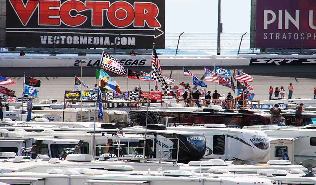 22' Telescopic Flagpoles, Flags, RV's tailgating at LVMS Nascar, A1 Flags and Poles
