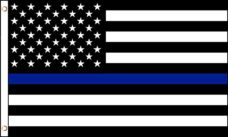 Thin Blue Line Flag is a black and white USA flag with a Thin Blue Line
