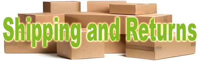 shipping and returns in large green letters in front of many cardboard boxes.