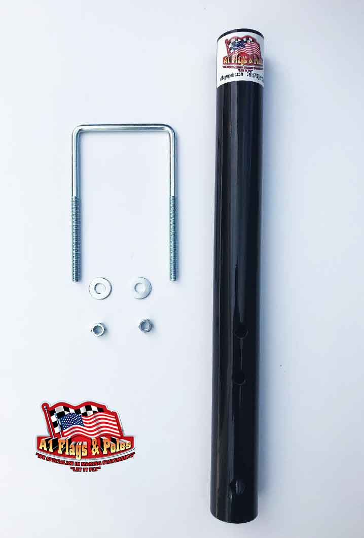 Black flagpole bumper mount with square u-bolt with two washers and nuts.