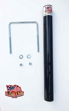 Black flagpole frame mount with square u-bolt with two washers and nuts.